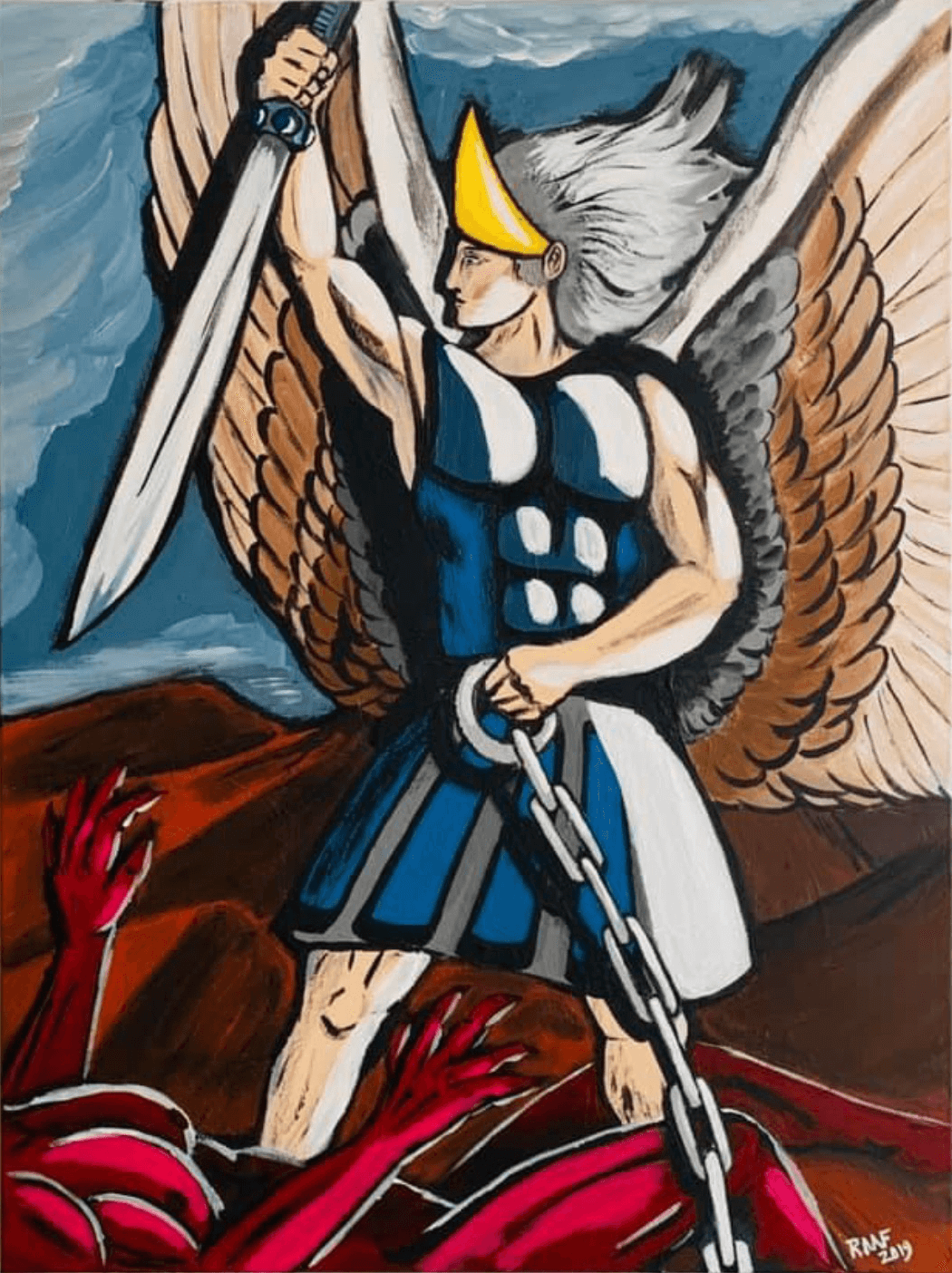 Archangel-Michael-with-the-devil-beneath-by-raafpaintings