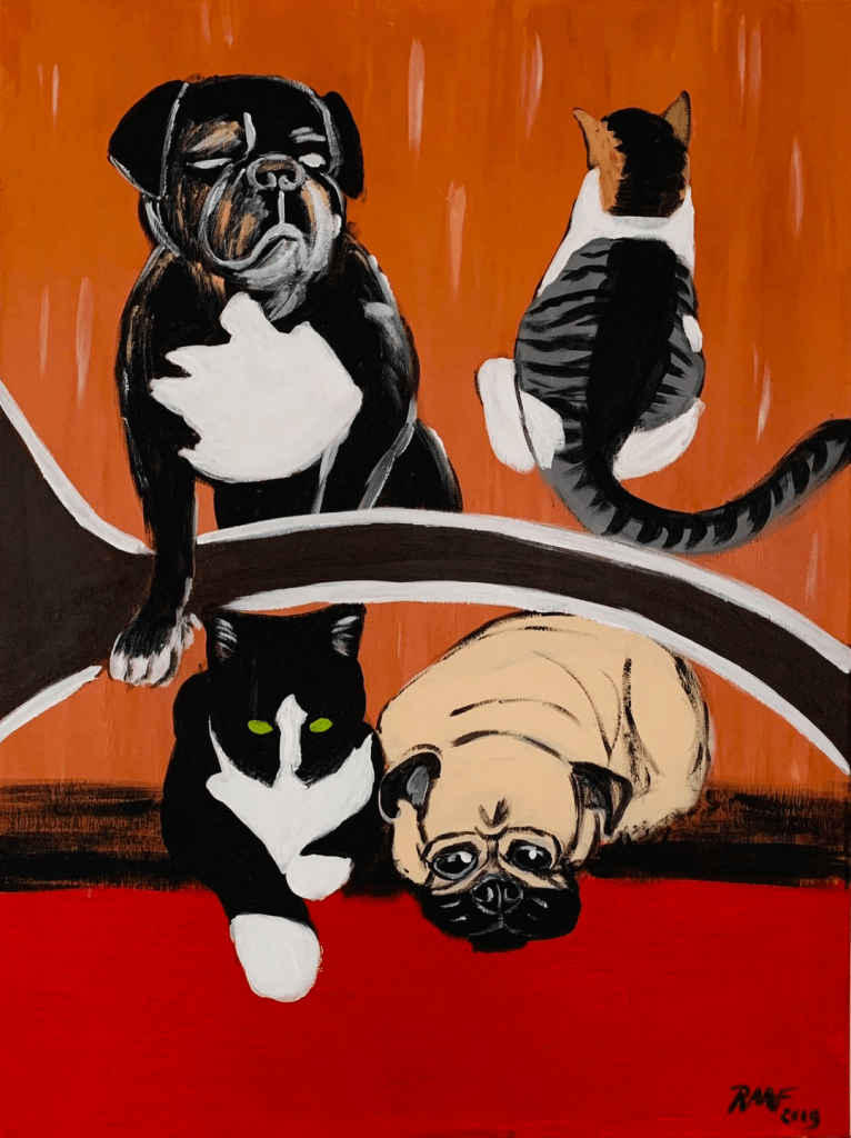 Dogs-and-cat-painting-by-raafpaintings