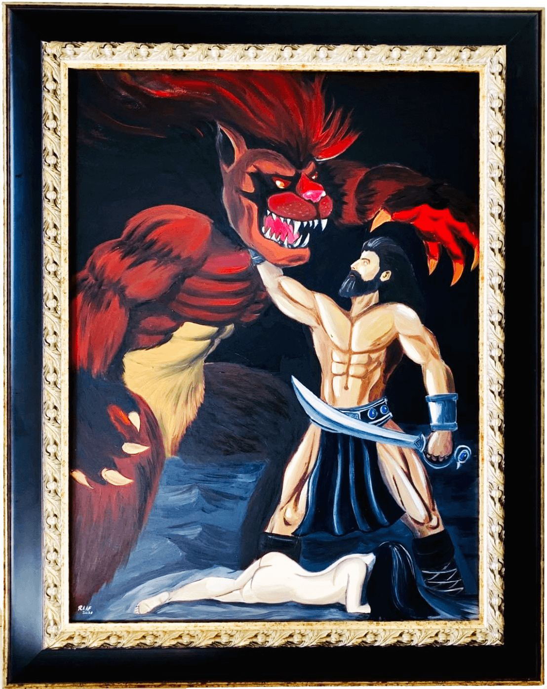 Samson-fights-with-lionmonster-by-raafpaintings