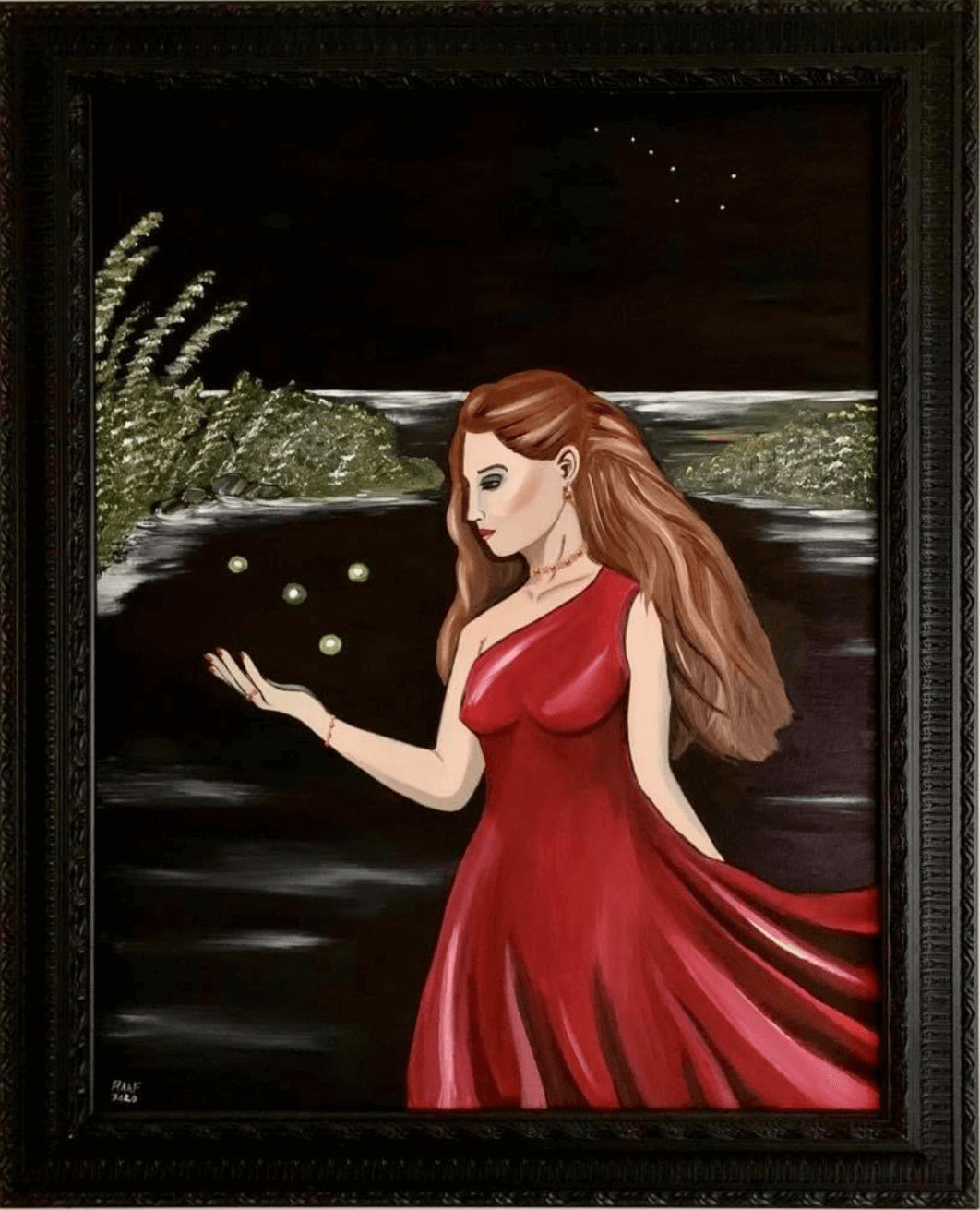 Woman-in-red-dress-by-raafpaintings