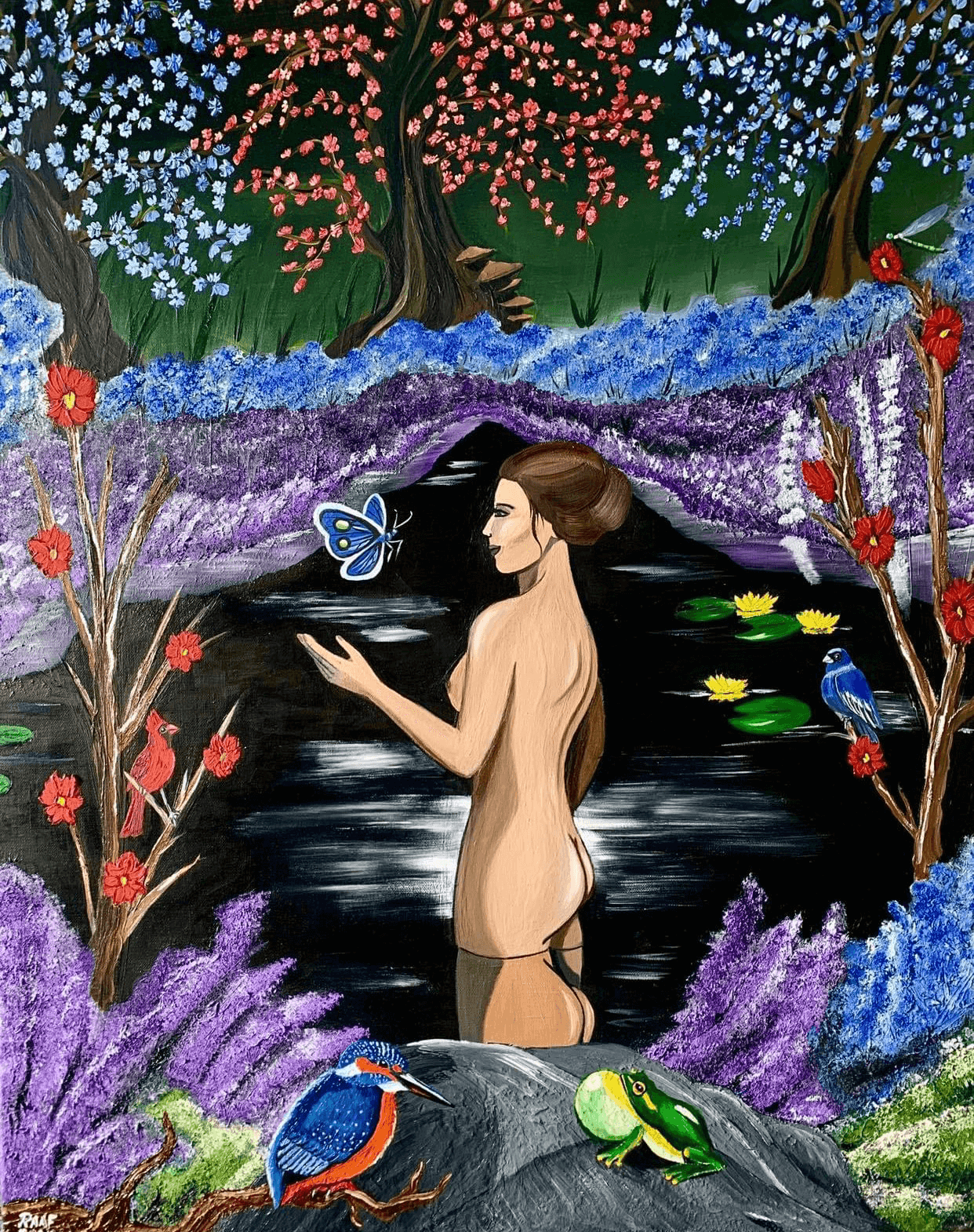 Woman-in-the-water-with-animals-by-raafpaintings