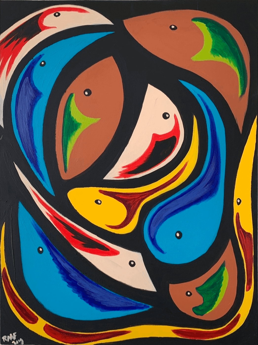 abstract-painting-with-fish-blue-brown-yellow-red-by-raafpaintings