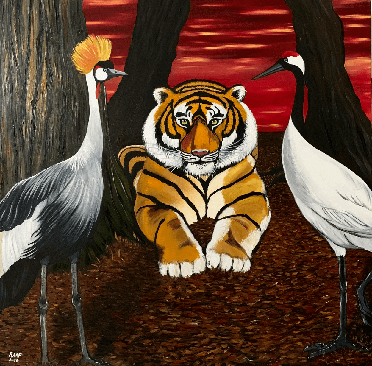 Tiger_and_cranes_painting_by_raaf-shadow