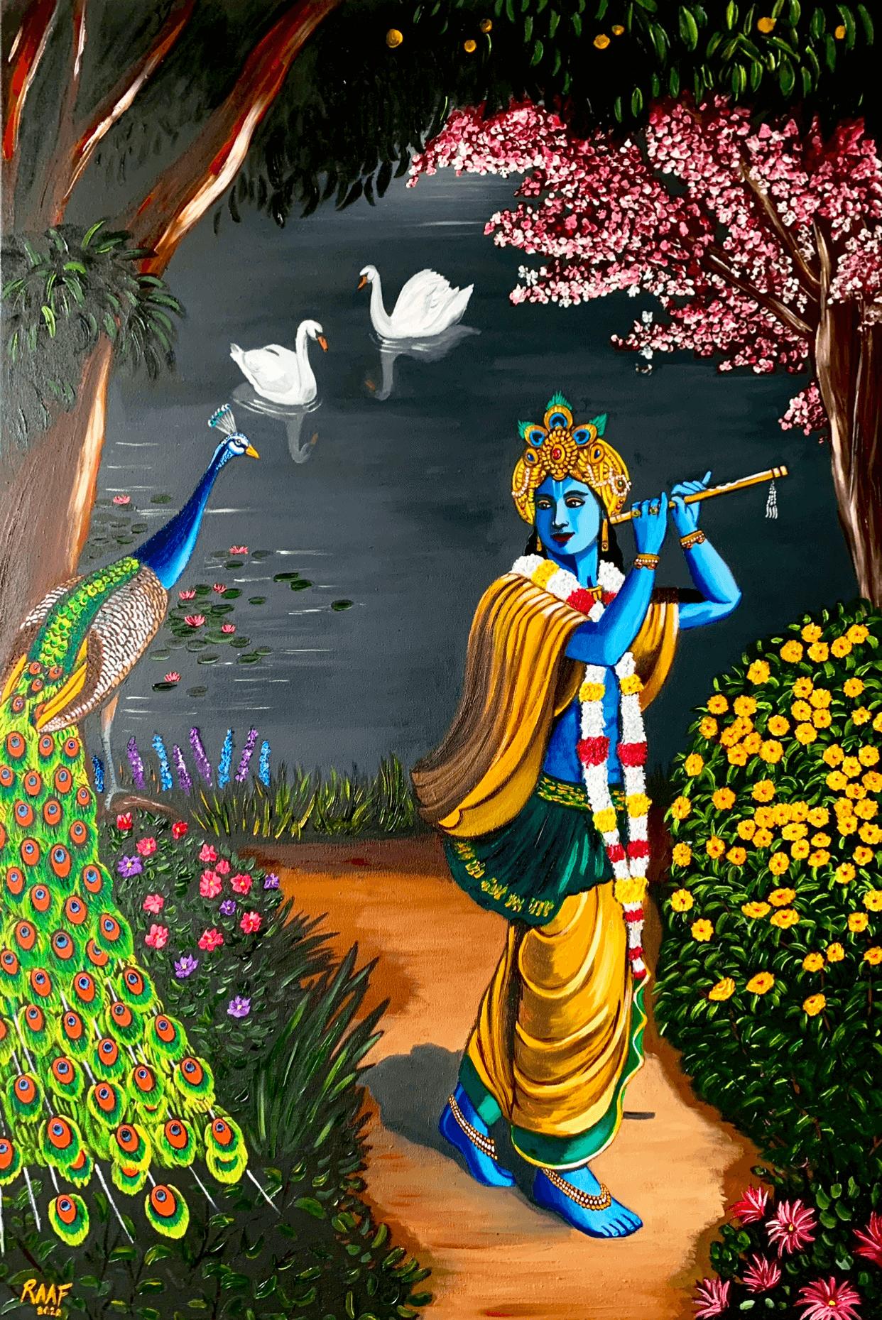 Krishna_and_peacock_oilpainting_raaf
