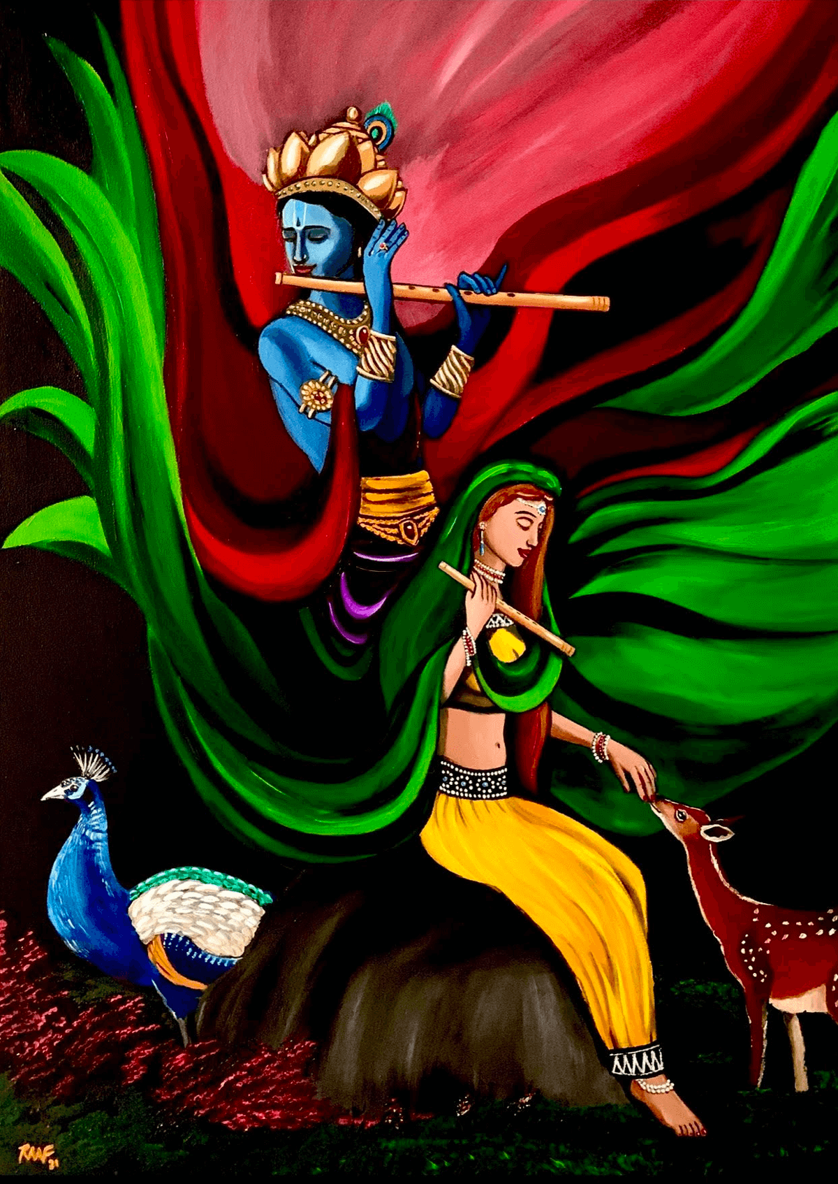 Colorful_Radha_and_Krishna_Oilpainting_by_raafpaintings
